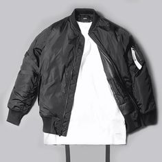 Even though it lacks double zippers, this Stampd LA bomber (availabe in black and olive) is on fucking point. Streetwear Mode, Streetwear Fashion, Nylon Bomber Jacket, My Wardrobe, Mens Suits, Cool Shirts, Autumn Winter Fashion, Fall Fashion, Korean Fashion