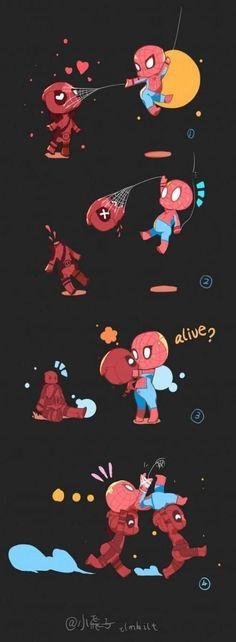 Deadpool Kawaii, Deadpool Chibi, Deadpool X Spiderman, Deadpool Funny, Lady Deadpool, Deadpool Tattoo, Marvel Comics, Marvel Fan, Marvel Memes