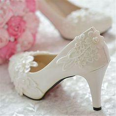 0b34fccbc5   19.99  Women s Shoes Leather Stiletto Heel Heels Pointed Toe Pumps Heels  Wedding Party   Evening White