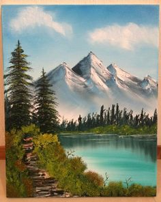 first ever bob ross painting distant mountains pretty proud of the result happy trees happy bushes and happy clouds parents should appreciat Night Sky Painting, Sunrise Painting, Lake Painting, Beautiful Landscape Paintings, Seascape Paintings, Abstract Landscape, Acrylic Paintings, Bob Ross Landscape, Watercolor Paintings