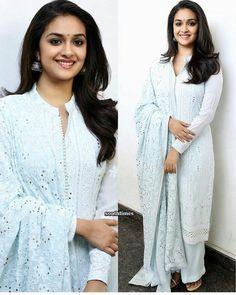 Keerthy during press interviews for Mahanati. Simple Kurti Designs, Kurti Neck Designs, Kurta Designs Women, Kurti Designs Party Wear, Blouse Designs, Salwar Designs, Indian Attire, Indian Outfits, Indian Dresses