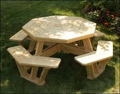 Treated Pine Octagon Walk In Picnic Table   Perfect For A Game Of Cards!
