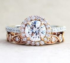rose gold round cut wedding engagement ring