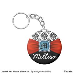 Damask Red Ribbon Blue Diamond Monogram And Name Basic Round Button Keychain