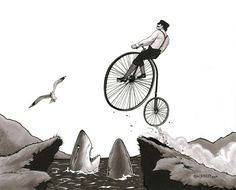old timey biker print #art #illustration #drawing #print #sharks #bike #bicycle