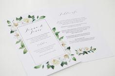 Custom made floral wedding invitations by www.makeadesign.fi / hääkutsut / häät