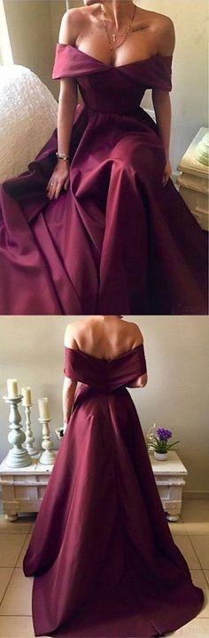 sexy off shoulder burgundy satin long prom/evening dress #prom #promdress #promdresses #eveningdress #eveningdresses