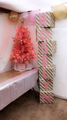 """Gift Table - Pink Christmas tree 4ft with clear lights and pink and gold ornaments (Walmart) - """"Sparkle and Shine"""" table decoration (Michaels) - Empty storage boxes 12""""x12""""x11"""" wrapped with glitter gold wrapping paper (Target) letters drawn and cut it from pink card stock - Pink Opalescent Table Cover 54x108 (Party City) and gold table runner (Walmart) - Pearl balloons in gold, pink and white 12"""" (Party City) Birthday Party For Teens, 10th Birthday Parties, Pink Christmas Tree, Christmas Wrapping, Pearl Baby Shower, Gold Wrapping Paper, Gold Table Runners, Michael S, Pink Themes"""
