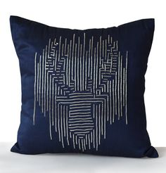 Decorative Throw Pillow Cover Navy Silk Silver Bead by AmoreBeaute