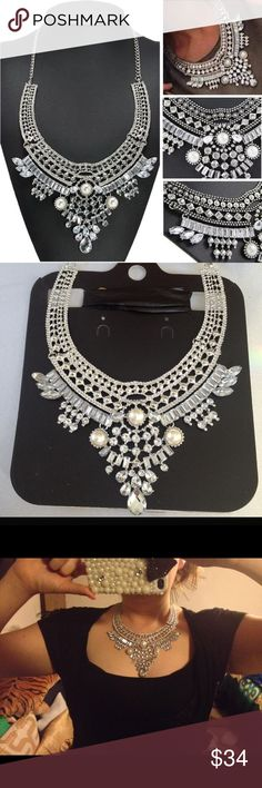 Boho Statement Necklace NWOT beautiful silver statement necklace withclear rhinestones  and 3 pearls. Jewelry Necklaces