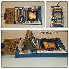 "Ritter Sport Mini Schiebeverpackung/ Box with a slider Material:  Stampin up Stempel sets:  Work of Art  Gastgeberinnen Set Grüß dich  Stanzen:  Kreisstanze 1 1/4""  Wellenkreis 1 3/4""  Extragroßes Oval  Farben:  Kandiszucker  Flüsterweiß Mitternachtsblau  Material: Stampin up stamp sets:  Work of Art  Hostess set Hello there (in german)   Punches_  Circle Punch 1 1/4""  Scallop Circle 1 3/4""  Extra large Oval   Colours:  Baked Brown sugar Whisper white  Midnight muse"