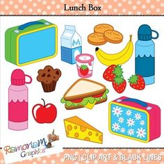 This set contains 13 images of the typical (and healthier) food items you might find in a lunch box. Each image is in PNG format & 300dpi in Black & White, colored with colored outlines and colored with black outlines