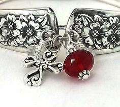 January Add on 4 Charms to any spoon bracelet in this shop: Faceted Garnet color crystal surrounded by 2 clear crystals and cross  The cross can be
