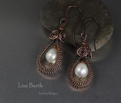 Woven Copper Hoop Ear Rings by LisaBarthJewelry on Etsy  ~~~  could be done in any color wire, with any stone as feature