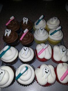 Dentist theme cupcakes Dentist Cake, First Tooth, Themed Cupcakes, Dentists, Dental Hygiene, Cake Decorating, Sweet Treats, College, Birthday