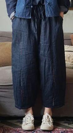 Women Plus Cotton Wide Leg Pants Embroidery Elastic Waist Trouser Loose Pants Cotton Pants, Linen Pants, Loose Pants, Wide Leg Pants, Harem Pants, Trousers, New Pant, Elastic Waist Pants, Plus Size Pants