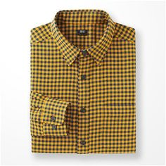 UNIQLO Flannel Checked Long Sleeve Shirt ($32) ❤ liked on Polyvore featuring men's fashion, men's clothing, men's shirts, men's casual shirts, mens casual long sleeve shirts, mens long sleeve shirts, mens checkered shirts, mens longsleeve shirts and mens flannel shirts