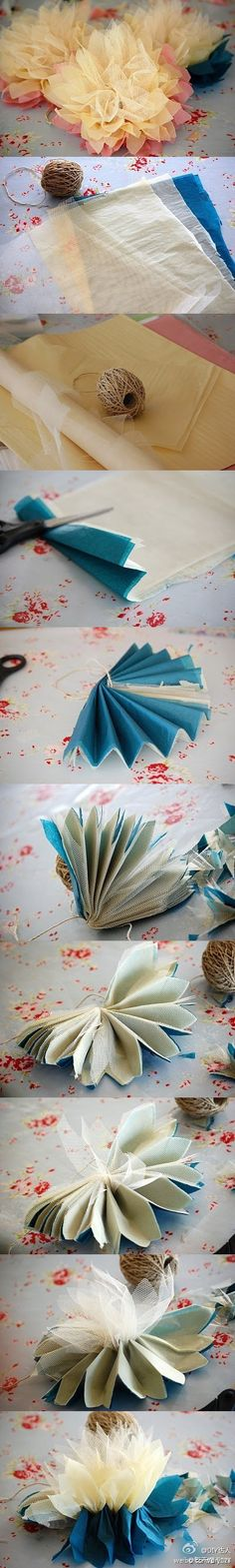 DIY fabric (or paper) flowers, I reckon this way of making DIY flowers looks so much cuter with fabrics though! Beaded Flowers, Diy Flowers, Fabric Flowers, Paper Flowers, Tulle Flowers, Tissue Flowers, Flower Diy, Tulle Poms, Lotus Flowers