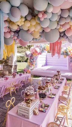 Candy Theme Birthday Party, Fairy Birthday Party, 1st Birthday Parties, Girl Birthday, Birthday Ideas, Simple Birthday Decorations, Princess Birthday Party Decorations, Balloon Decorations Party, Decoration Party