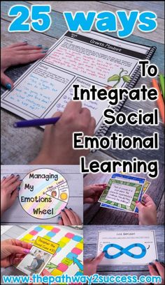 25 ways to integrate social emotional learning for educators filled with great ideas and free resources you can use right away! Perfect for counselors, special educators, regular educators, and more. Social Emotional Activities, Emotions Activities, Social Emotional Development, Teaching Social Skills, Activities For Teens, Learning Activities, Social Work Activities, Emotional Books, Child Development Activities