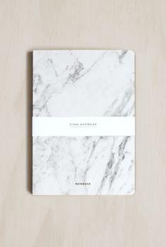 Dear Maison Stone Notebook, Plain, White Marble