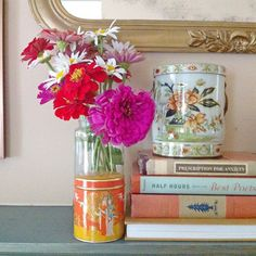 Zinnias and Tea tins by Heather Spriggs Instagram @gatheringspriggs