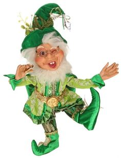 Elves are not just for Chirstmas....this little fellow is ready to celebrate St Patricks day with you.  Posable 16 inch figure, a collectible Mark Roberts limited edition elf. Shelley B Home and Holiday