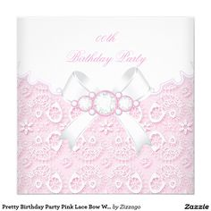 Pretty Birthday Party Pink Lace Bow White 5.25x5.25 Square Paper Invitation Card