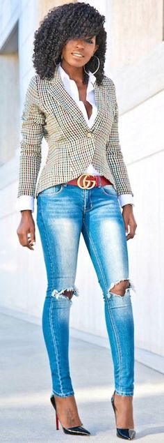 #fall #trending #street #outfits | Houndstooth Blazer + Button Down + Ripped Skinnies