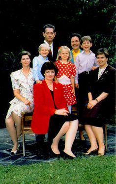 Members of the Romanian royal family pose in the 1990s. From left: Princess Irina and her two children, Michael and Angelica, Princess Margareta (wearing a red jacket), Prince Nicolae (Princess Elena's son), Princess Sofia, and in the back King Michael and Queen Anne.