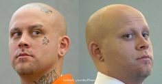 A panel of potential jurors in a Las Vegas courtroom did not seem to notice that the white supremacist tattoos on Bayzle Morgan's face and bald head were covered with makeup Monday, as they will be for the rest of his robbery trial. Facial Tattoos, Head Tattoos, Girl Tattoos, Picture Of Doctor, Going Bald, Medical Logo, Pineapple Images, Bald Heads, Cover Tattoo