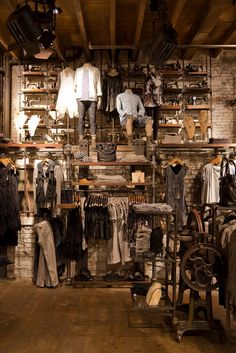 The All Saints brand fit their stores out with hard core industrial styling, yet instead of feeling cold and lifeless, All Saints' spaces make you feel that you never want to leave. Uber cool.