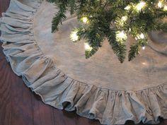 48 inch Ruffled Linen Christmas Tree Skirt  by ruffledlinens, $79.95