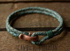 Mens Leather Bracelet Leather bracelets Men by CandiedBohemian