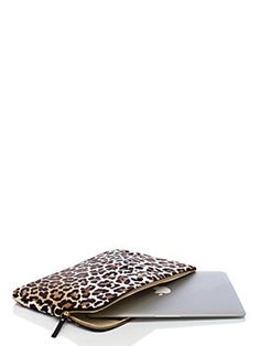 nylon leopard print laptop sleeve with strap by kate spade new york Tennis Accessories, Computer Accessories, Macbook Case, Laptop Cases, Macbook Pro, Iphone Cases, Ipad Sleeve, Best Bags, Nylon Bag