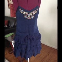 Adorable drop tie waist dress Embellished with colorful appliqués. Perfect for lounging.... Free People Dresses Mini