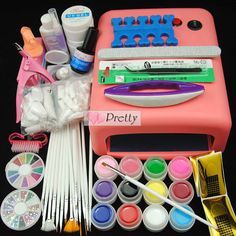 36W UV Lamp 12 Colors UV Gel Nail Art Tips File Brush Tools Set Kit #Unbranded