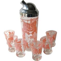 Pink Elephant Cocktail Shaker and Six Glasses - Vintage Barware - Happy Hour Bar Set from Openslate Collectibles on Ruby Lane