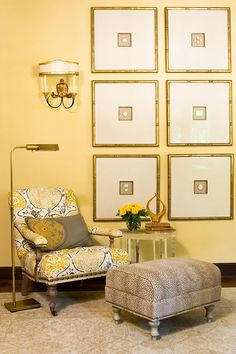 Traditional Decorating in Sunny Yellow | Traditional Home Gold accents feel natural, while maintaing an appealing yellow. Grey and cream accents flow nicely. This yellow is closer to butter, warm, no coolness in it.
