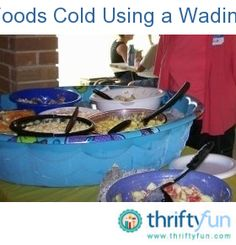 I want to share how our family utilized a small place to set out food at our family reunion! We used 2 children's small swimming pools that we purchased at Walmart, I think it was $4.88 each.