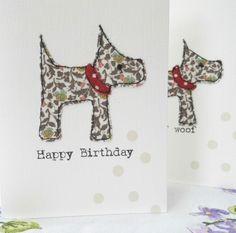 liberty fabric scottie dog birthday card £3.50