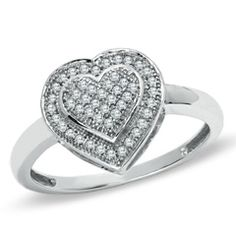 1/7 CT. T.W. Diamond Double Heart Ring in 10K White Gold - Size 7 - - clearance - PAGODA.COM