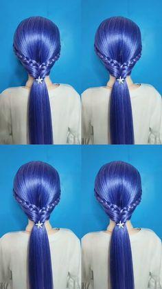 Bun Hairstyles For Long Hair, Teen Hairstyles, Braids For Long Hair, Pretty Hairstyles, Braided Hairstyles, Hair Up Styles, Medium Hair Styles, Hair Style Vedio, Bridal Hair Tutorial