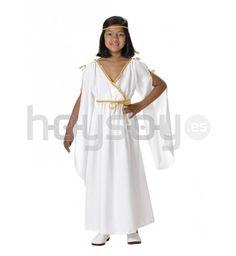 #Disfraz de patricia #romana para #niña. Compuesto por túnica bordados dorados. Fabricado en España #Disfraces #Carnaval