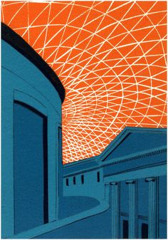 Limited editiion linocut print British Museum Teal by Jennie Ing at For Arts Sake. Egypt Museum, 17th Century Art, London Art, Luxor Egypt, Environmental Art, British Library, Linocut Prints, Urban Landscape, British Museum