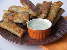 Red Couch Recipes: Mummies With Moldy Dressing (Baked Southwestern Eggrolls with Cilantro Ranch Dressing)