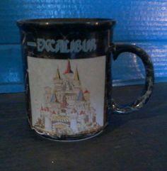 EXCALIBUR COFFEE MUG black marble HOTEL CASINO - LAS VEGAS RARE collectible cup