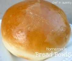 HOMEMADE BREAD BOWLS 5 cups warm water, 2 Tbsp. yeast, 2/3 cup sugar. Combine and let sit for 10 minutes or until yeast is bubbly. 2/3 cup oil, 2 Tbsp. salt, 12-14 cups white all purpose flour. Add oil, salt, and 3 cups of flour to the yeast mixture.  Mix on low speed (if in a bread mixer).