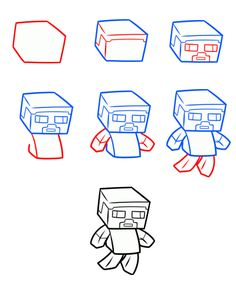 How to draw chibi Minecraft Steve Minecraft Kunst, Minecraft Drawings, Minecraft Wolf, Minecraft Images, Minecraft Crafts, 3d Drawings, Cartoon Drawings, Minecraft Characters, Painted Canvas Shoes