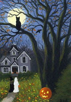 Cat Tree Witch Ghost Haunted House Moon Halloween Limited Edition Aceo Print Art